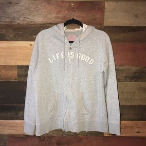 Life is good hooded zip up sweatshirt